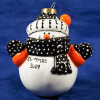 A snowman bauble from Christmas pot painting at Fired Arts, Sheffield