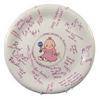 Commissioned painted Christening plate