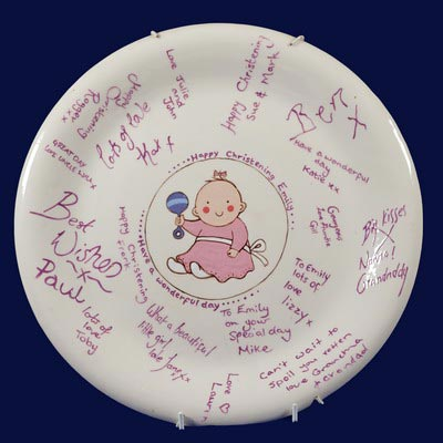 Painted Christening plate