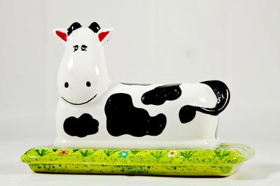 Painted pot butter dish
